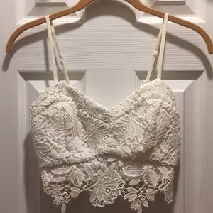 Lush White Lace Crop Top